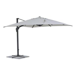 Umbrela de gradina cu picior din fier gri antracit si copertina textil gri Ines 300 cm x 300 cm x 255 h