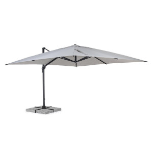Umbrela de gradina cu picior din fier gri antracit si copertina textil gri Ines 400 cm x 400 cm x 265 h