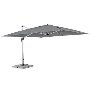 Umbrela de gradina cu picior din aluminium argintiu si copertina textil gri antracit Ines 400 cm x 400 cm x 275 h