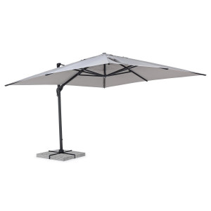 Umbrela de gradina cu picior din fier gri antracit si copertina textil gri Calis 400 cm x 400 cm x 275 h