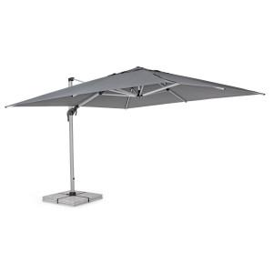 Umbrela de gradina cu picior din aluminium argintiu si copertina textil gri Calis 400 cm x 400 cm x 275 h