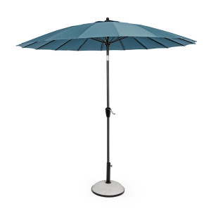 Umbrela de gradina cu picior din fier negru si copertina textil albastru Atlanta Ø 270 cm x 240 h