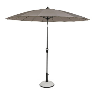 Umbrela de gradina cu picior din fier gri antracit si copertina textil gri Atlanta Ø 270 cm x 240 h