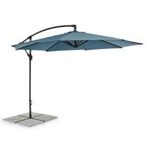 Umbrela de gradina cu picior din fier gri antracit si copertina textil albastru Texas Ø 300 cm x 260 h