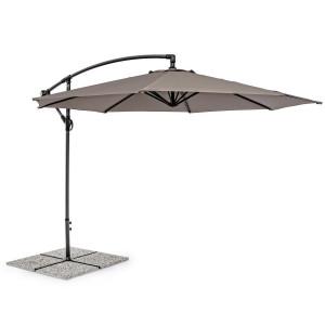 Umbrela de gradina cu picior din fier gri antracit si copertina textil bej Texas Ø 300 cm x 260 h