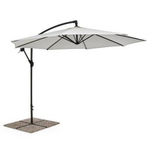 Umbrela de gradina cu picior din fier gri antracit si copertina textil crem Texas Ø 300 cm x 260 h