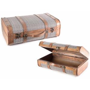 Set 2 valize decorative din lemn si material textil 45 cm x 16 cm x 30 h
