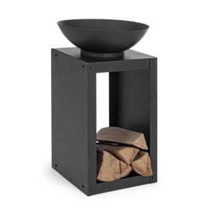 Vatra de foc pentru exterior din otel negru Efesto 38 cm x 38 cm x 63 h