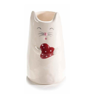 Vaza ceramica alba model Pisica 10 cm x 16 cm