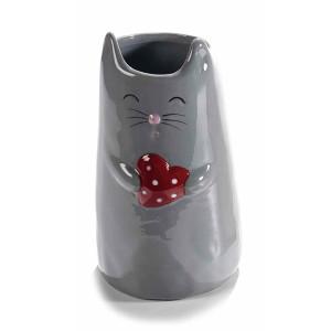Vaza ceramica gri model Pisica 10 cm x 16 cm