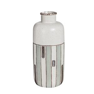 Vaza ceramica alb gri Etnic Ø 14 cm x 31 h