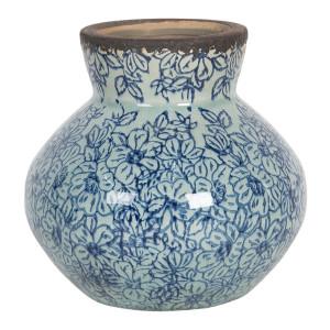 Vaza pentru flori ceramica albastra Ø 14 x 13 h
