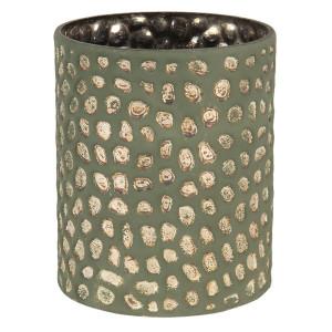 Vaza pentru flori din sticla verde auriu Ø 15 x 13 h