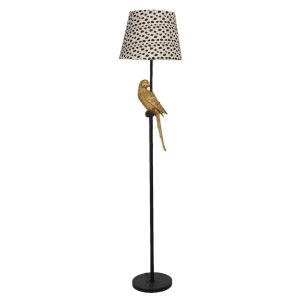 Lampadar cu baza din polirasina maro si abajur textil Ø 37 cm x 165 h