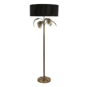 Lampadar cu baza din fier auriu antic cu abajur textil negru Ø 60 cm x 165 h