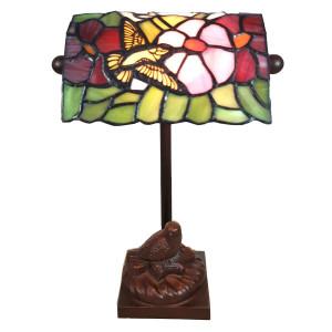 Veioza cu baza din polirasina maro si abajur din sticla Tiffany 15 cm x 15 cm x 33 h