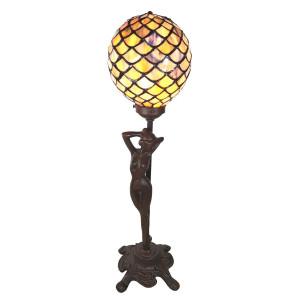Veioza cu baza din polirasina maro si abajur din sticla Tiffany 21 cm x 21 cm x 51h