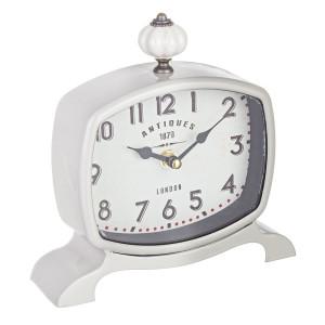 Ceas de masa metal alb Antiques 19X18 cm