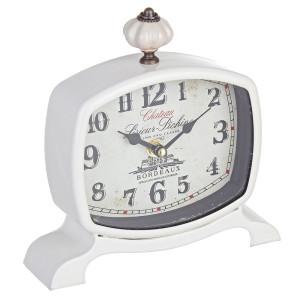 Ceas de masa metal alb Chateaux 19X18 cm