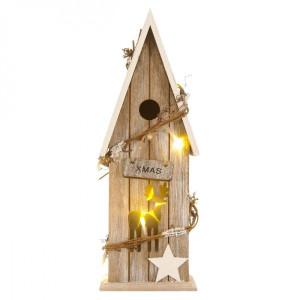 Casuta luminoasa lemn X-mas 10 cm x 10 cm x 34 cm