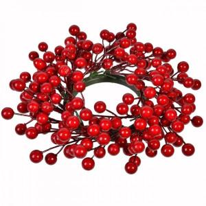 Coronita Craciun rosie suspendabila Berry 30 cm