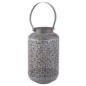 Felinar metal gri antichizat Kyral 21 cm x 21 cm x 37 h