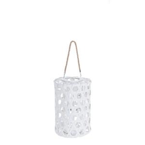 Felinar suspendabil bambus alb Hexagon Ø 26 cm x 40 h