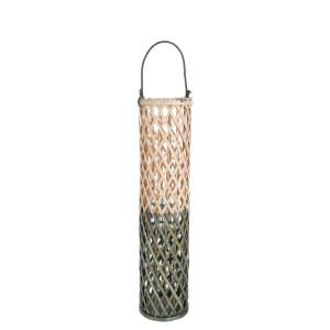 Felinar suspendabil bambus natur verde Layla Ø 20 cm x 80 h / 103 h suspendat