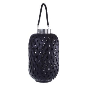Felinar bambus negru si sticla Tanzania Ø 30 cm x 50 h