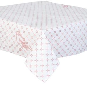 Fata de masa bumbac alb roz Bird 90*90 cm