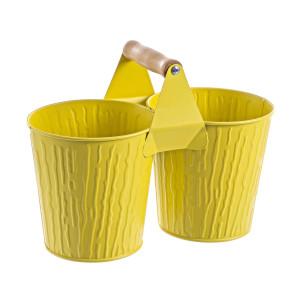 Ghiveci metal galben pentru flori dublu 26x13x19,5h
