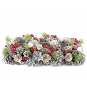 Aranjament Craciun pentru masa cu 3 suporturi lumanari Berry 36 cm x 17.5 cm x 8.5 h