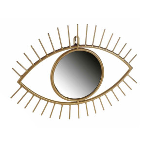 Oglinda decorativa de perete cu rama din metal auriu 35,5 cm x 26 h