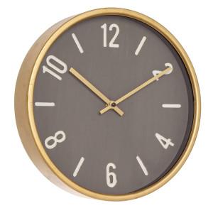 Ceas de perete metal sticla auriu negru rotund Ticking ø30