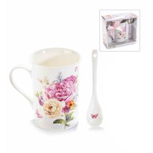 Cana portelan cu lingurita si cutie cadou model Floral Ø 8 cm x 11 H 300 ml