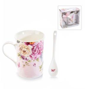 Cana portelan cu lingurita si cutie cadou model Flori Ø 8 cm x 11 H 300 ml