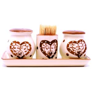 Set ceramica solnita  pipernita, scobitori 30 cm