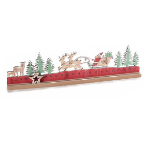 Calendar Advent Craciun din lemn natur verde rosu model Mos Craciun 45 cm x 3 cm x 15.5 h