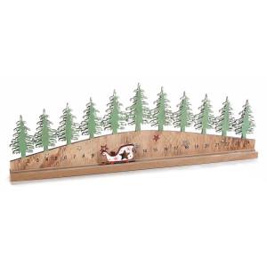 Calendar Advent Craciun din lemn natur verde model Brazi 45 cm x 3 cm x 15.5 h
