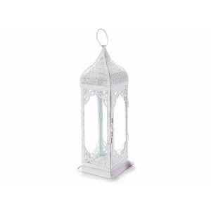 Felinar metal sticla alb antichizat Art 12 cm x 12 cm x 39 cm