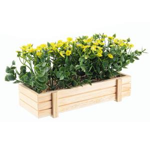 Flori artificiale galbene in jardiniera 23x9x14h