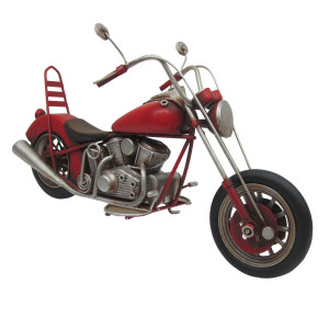 Macheta motocicleta retro metal rosie 28x10x15 cm