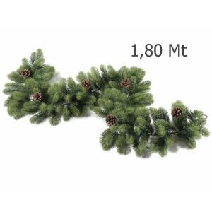 Ghirlanda de brad artificial verde cu conuri naturale 180 cm