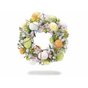 Coronita Paste decorata cu oua si flori piersic Spring  Ø 26 cm