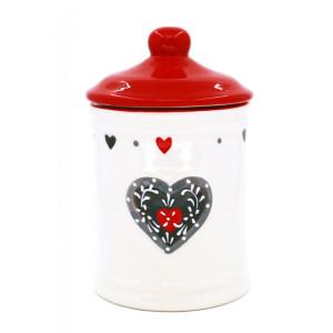 Borcan decorativ ceramica alb rosu gri 24 cm