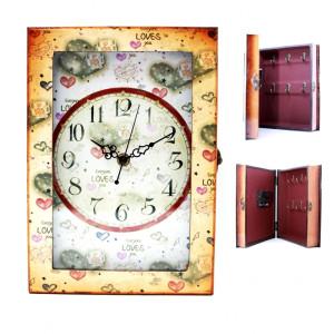 Ceas Loves de perete cu cutie chei 28 cm x 15 cm