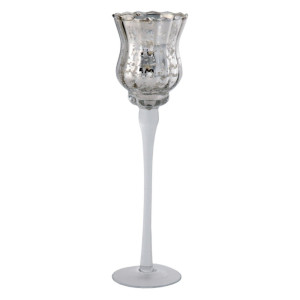 Suport lumanare sticla argintie 7 cm x 30 cm