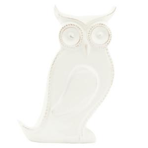 Suport lumanare ceramica alba Bufnita 13 cm x 5 cm x 15 cm