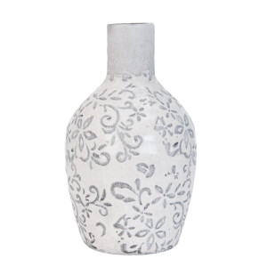 Vaza pentru flori ceramica alba gri Ø 9 x 18 cm
