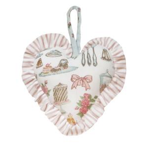Decoratiune inima textil 13 x 13 cm